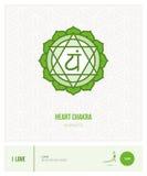 Heart chakra Anahata. Chakras, energy healing and yoga poses infographic Stock Images