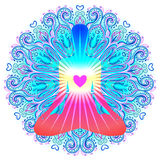 Heart Chakra concept. Inner love, light and peace. Silhouette in Royalty Free Stock Images