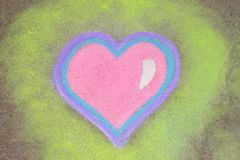 Heart in chalk. Pink heart drawn in sidewalk chalk vector illustration