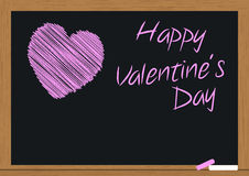Heart on chalkboard. Illustration of pink heart and text in chalkboard Royalty Free Stock Photo