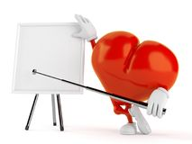 Heart character with blank whiteboard. On white background. 3d illustration Stock Image