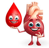 Heart character with blood drop Royalty Free Stock Photos