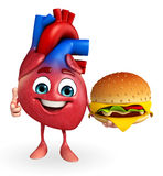 Heart character with burger Royalty Free Stock Images