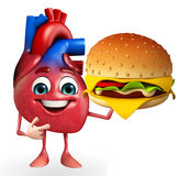 Heart character with burger Royalty Free Stock Photo