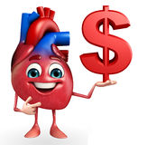 Heart character with dollar sign Royalty Free Stock Photos
