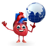 Heart character with globe Royalty Free Stock Image