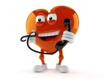 Heart character holding a telephone handset. Isolated on white background Royalty Free Stock Photos