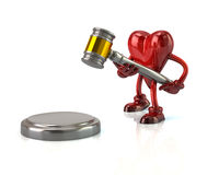 Heart character with a judges gavel Stock Photography
