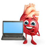 Heart character with laptop Stock Images