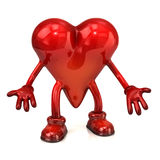 Heart character with open hands Royalty Free Stock Image