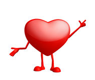 Heart character with pointing pose Royalty Free Stock Photos