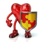 Heart character and puzzle shield Stock Photos