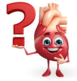 Heart character with question mark Stock Image