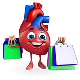 Heart character with shopping bag Royalty Free Stock Image