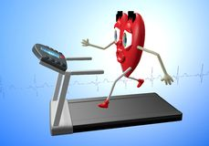 Heart character on treadmill. Heart character exercising on treadmill, concept of heart health, cardio exercise, fitness Royalty Free Stock Photos
