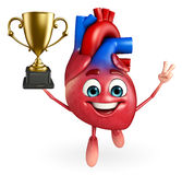 Heart character with trophy Royalty Free Stock Images