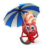Heart character with umbrella Royalty Free Stock Images