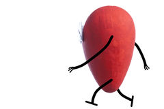 Heart character walking Stock Image