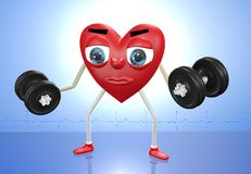 Heart character with weights. Heart character exercising with weights in both hands Stock Photography