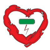 Heart and charged battery icon Royalty Free Stock Photo