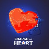 Heart charging for energy with home plug charge your heart conce. Pt - illustration royalty free illustration