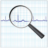 Heart checkup. Magnifying glass on an ECG diagram, eps8 Royalty Free Stock Image