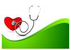 Heart Checkup with stethoscope. On green background Royalty Free Stock Photography