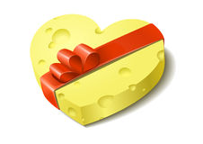 Heart from cheese. In the form of a gift. A  illustration Royalty Free Stock Photos