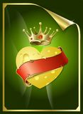 Heart from cheese and a gold crown. Royalty Free Stock Images