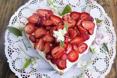 Heart Cheesecake with Strawberries Stock Image