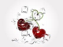 Heart cherries. In water splash stock illustration