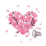 Heart with cherry blossom design Royalty Free Stock Image