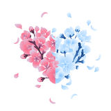 Heart with cherry blossom design Royalty Free Stock Images