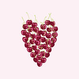 A heart. cherry.Heart laid out from the cherries.  Stock Photography