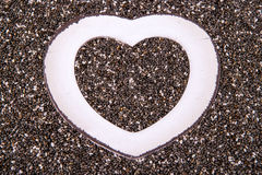 Heart in chia close up Stock Photography