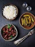 Heart chicken stew in white wine, soy sauce, garlic, chili and parsley Stock Images