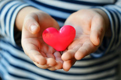 Heart in child`s hands Royalty Free Stock Photos