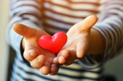 Heart in child`s hands Stock Photography