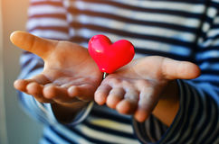 Heart in child`s hands Stock Photos