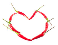 Heart of chili pepper Stock Images