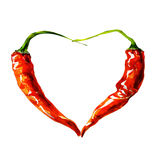 Heart from chili pepper. Watercolor painting on white background Stock Image