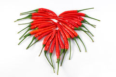 Heart of chili pepper  on white background Stock Images