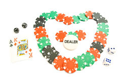 Heart from chips, cards and dices Royalty Free Stock Photo