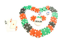 Heart from chips, dices and cards on white Stock Images