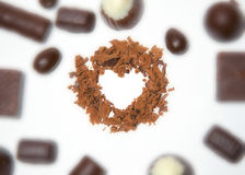 Heart of Chocolate. Sweet relish the holiday, love in the heart with chocolate Royalty Free Stock Photos