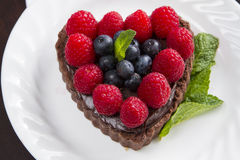 Heart Chocolate Caramel Tart Stock Photography