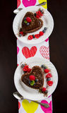 Heart Chocolate Caramel Tart Stock Images