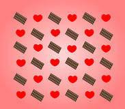 Heart and chocolate. In the pink background stock illustration