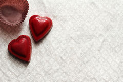 Heart of chocolate and Valentine Stock Photography