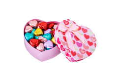 Heart  chocolates. In Pink box Stock Photography